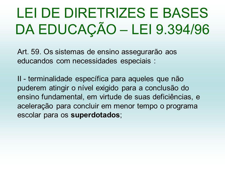 LEI DE DIRETRIZES E BASES DA EDUCAÇÃO – LEI 9.394/96 Art.