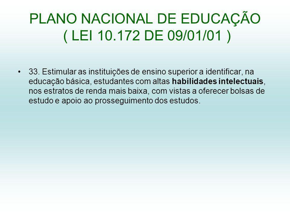 PLANO NACIONAL DE EDUCAÇÃO ( LEI 10.172 DE 09/01/01 ) 33.