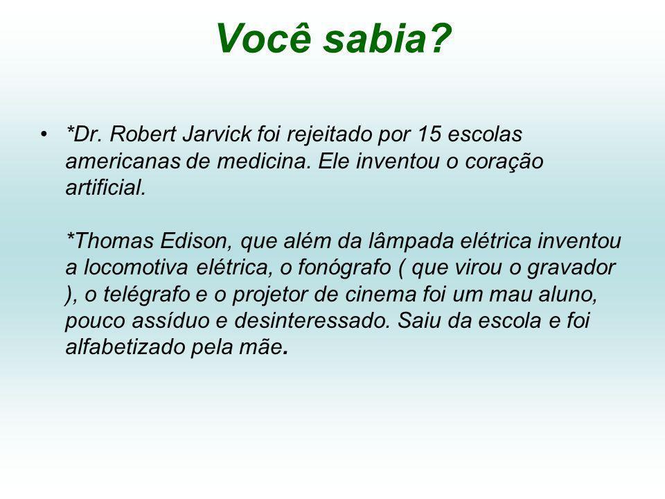 Você sabia.*Dr. Robert Jarvick foi rejeitado por 15 escolas americanas de medicina.