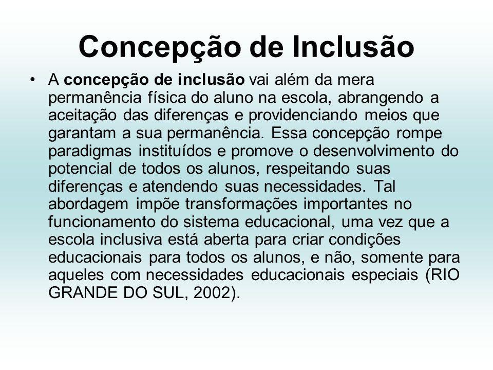 Concepção de Inclusão A concepção de inclusão vai além da mera permanência física do aluno na escola, abrangendo a aceitação das diferenças e providenciando meios que garantam a sua permanência.
