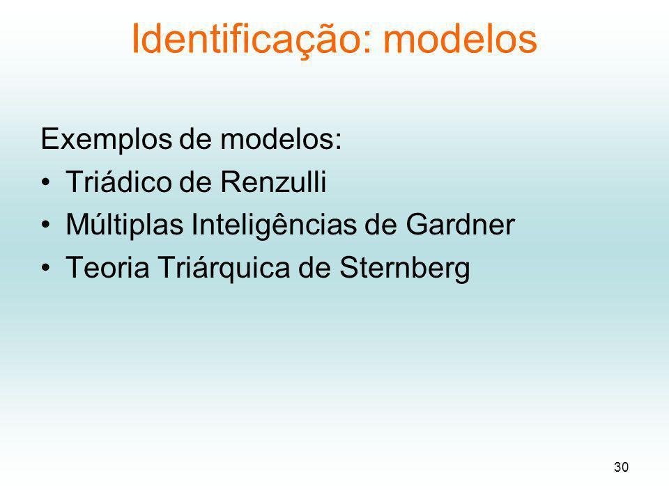 Identificação: modelos Exemplos de modelos: Triádico de Renzulli Múltiplas Inteligências de Gardner Teoria Triárquica de Sternberg 30