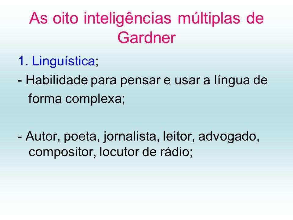 As oito inteligências múltiplas de Gardner 1.