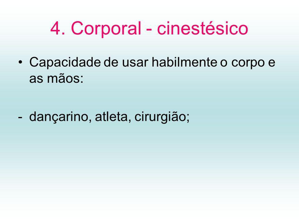 4. Corporal - cinestésico Capacidade de usar habilmente o corpo e as mãos: -dançarino, atleta, cirurgião;