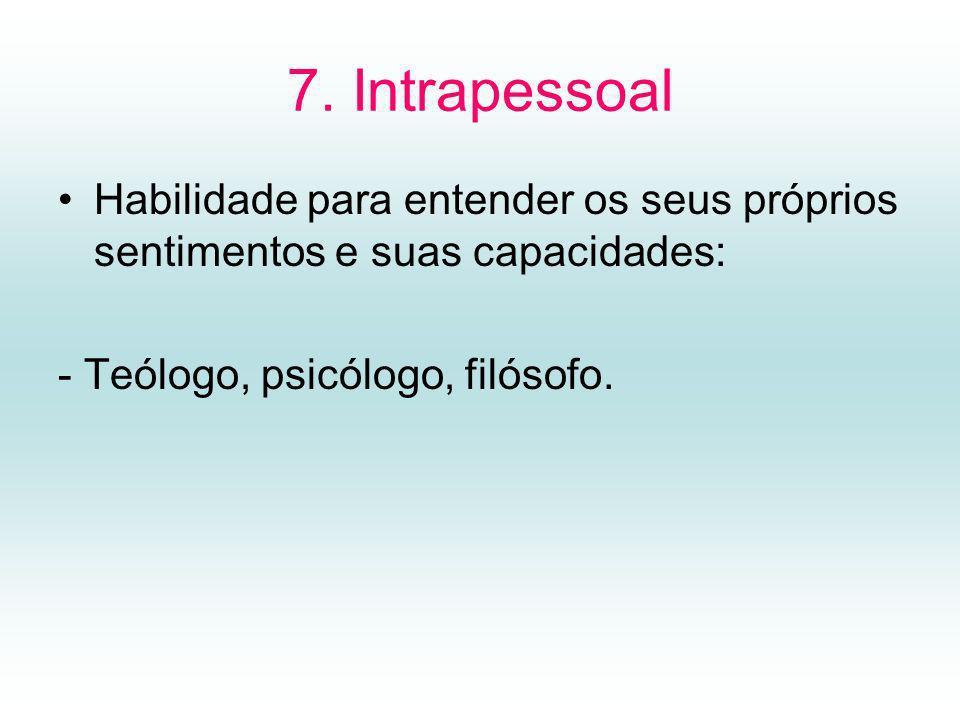 7. Intrapessoal Habilidade para entender os seus próprios sentimentos e suas capacidades: - Teólogo, psicólogo, filósofo.