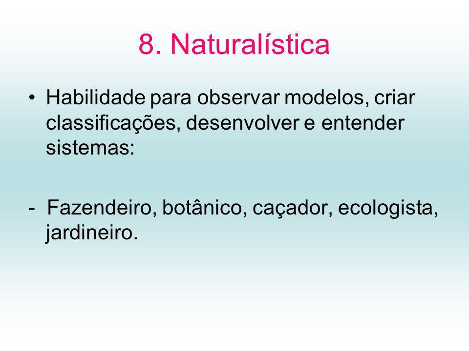 8. Naturalística Habilidade para observar modelos, criar classificações, desenvolver e entender sistemas: - Fazendeiro, botânico, caçador, ecologista,