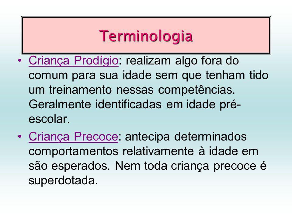 Terminologia Criança Prodígio: realizam algo fora do comum para sua idade sem que tenham tido um treinamento nessas competências.