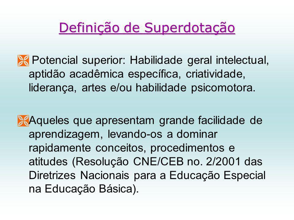 Definição de Superdotação Potencial superior: Habilidade geral intelectual, aptidão acadêmica específica, criatividade, liderança, artes e/ou habilidade psicomotora.