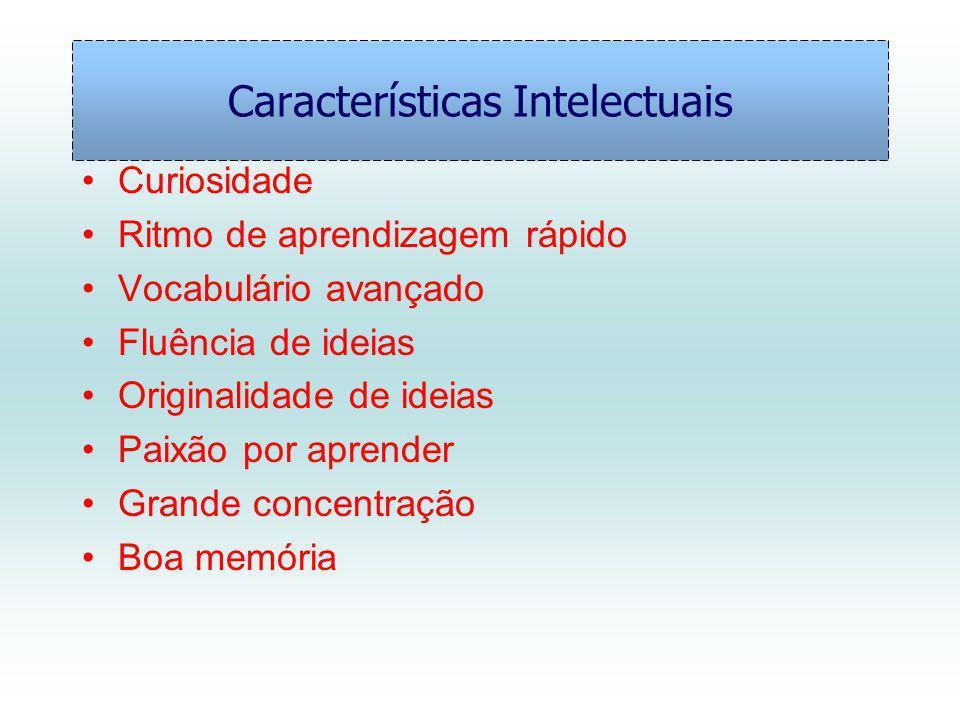 Características Intelectuais Curiosidade Ritmo de aprendizagem rápido Vocabulário avançado Fluência de ideias Originalidade de ideias Paixão por aprender Grande concentração Boa memória