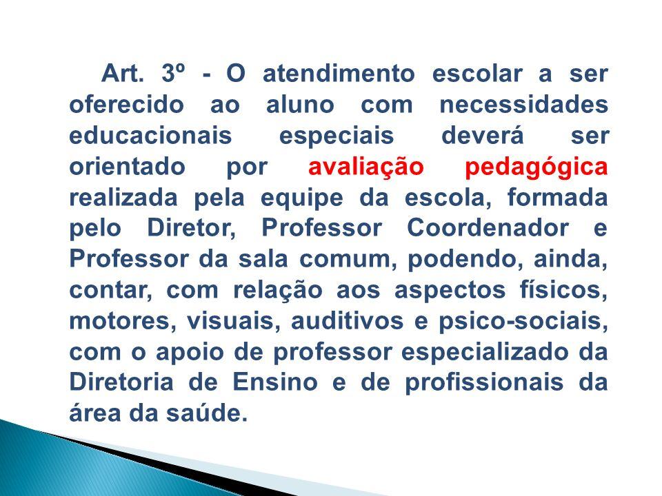 Art. 3º - O atendimento escolar a ser oferecido ao aluno com necessidades educacionais especiais deverá ser orientado por avaliação pedagógica realiza