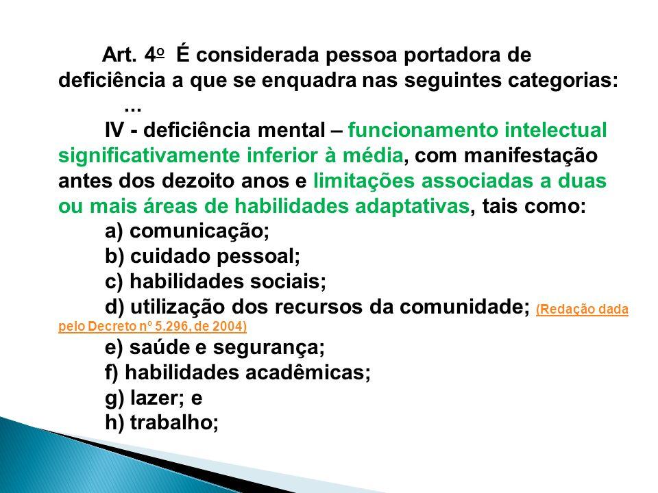 Art. 4 o É considerada pessoa portadora de deficiência a que se enquadra nas seguintes categorias:... IV - deficiência mental – funcionamento intelect