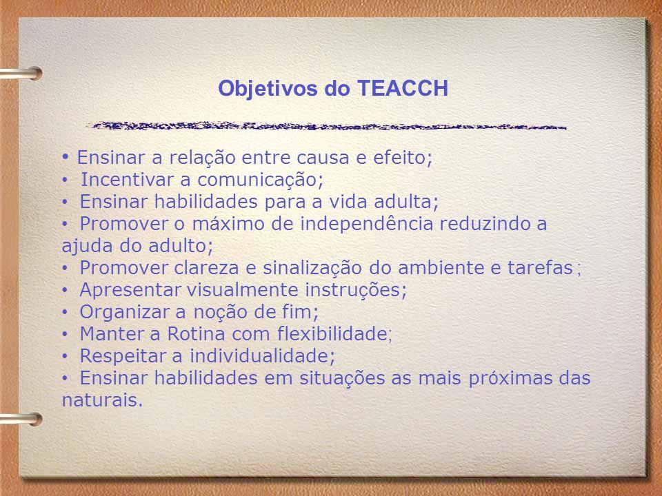 Objetivos do TEACCH Ensinar a rela ç ão entre causa e efeito; Incentivar a comunica ç ão; Ensinar habilidades para a vida adulta; Promover o m á ximo