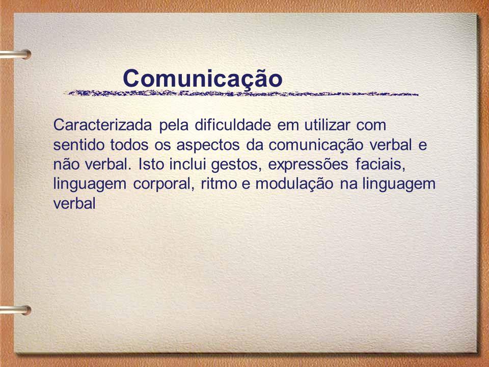 Comunicação Caracterizada pela dificuldade em utilizar com sentido todos os aspectos da comunicação verbal e não verbal. Isto inclui gestos, expressõe