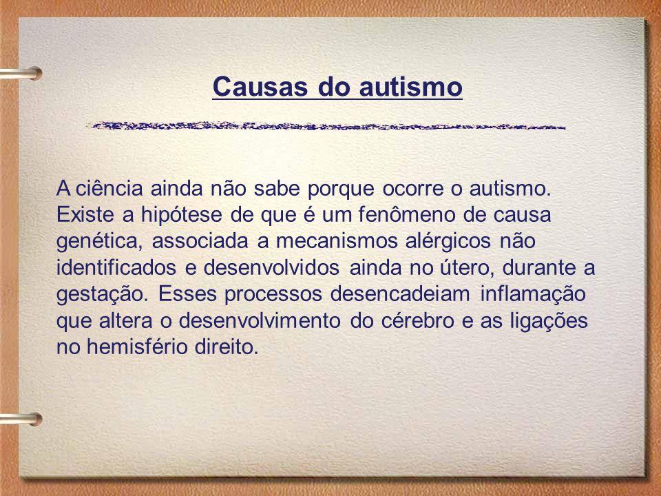 A ciência ainda não sabe porque ocorre o autismo. Existe a hipótese de que é um fenômeno de causa genética, associada a mecanismos alérgicos não ident