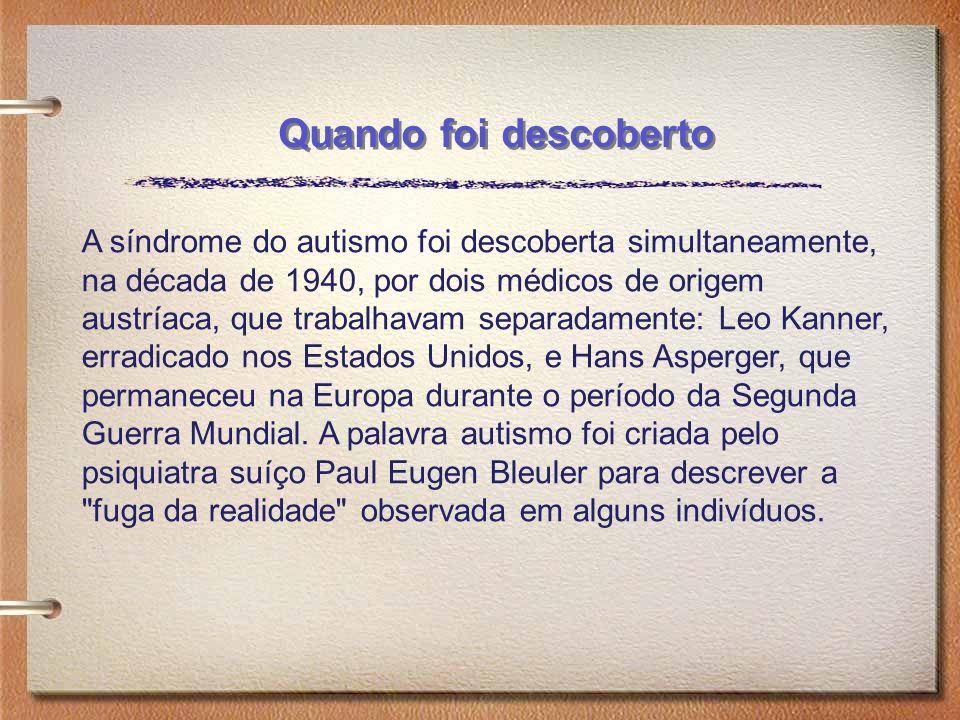 A síndrome do autismo foi descoberta simultaneamente, na década de 1940, por dois médicos de origem austríaca, que trabalhavam separadamente: Leo Kann