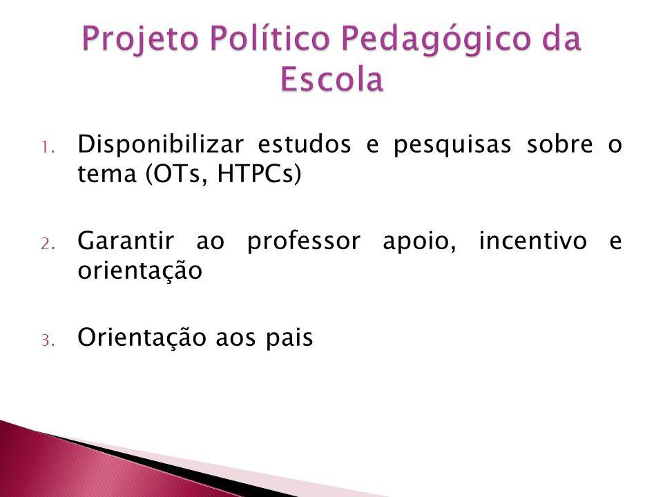 1. Disponibilizar estudos e pesquisas sobre o tema (OTs, HTPCs) 2. Garantir ao professor apoio, incentivo e orientação 3. Orientação aos pais