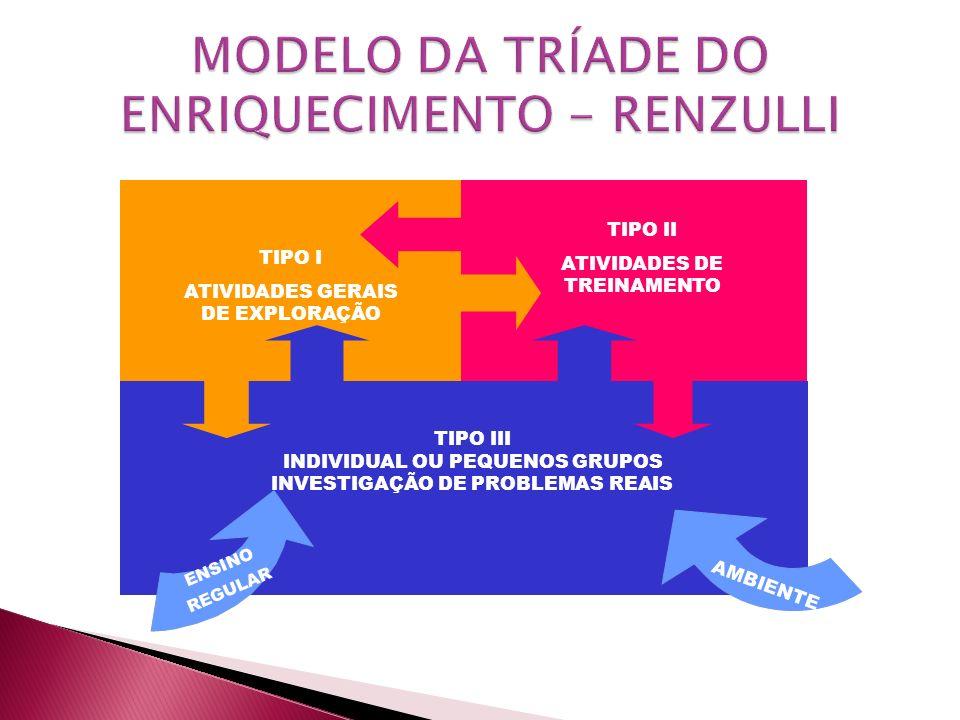 TIPO II ATIVIDADES DE TREINAMENTO AMENTE TIPO I ATIVIDADES GERAIS DE EXPLORAÇÃO TIPO II ATIVIDADES DE TREINAMENTO TIPO III INDIVIDUAL OU PEQUENOS GRUP