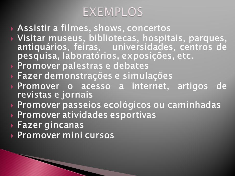 Assistir a filmes, shows, concertos Visitar museus, bibliotecas, hospitais, parques, antiquários, feiras, universidades, centros de pesquisa, laborató