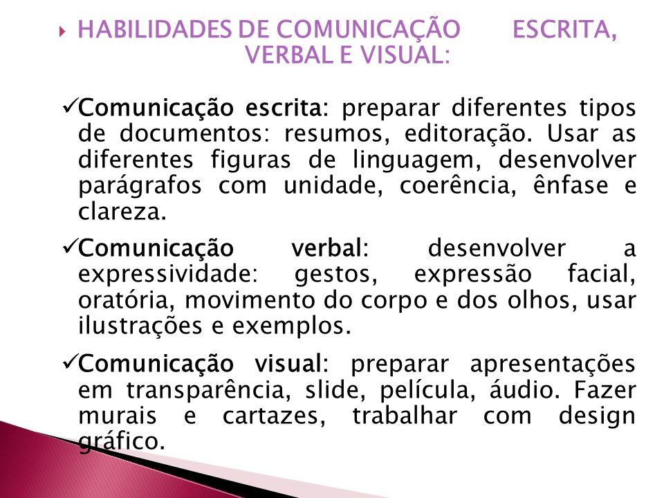 HABILIDADES DE COMUNICAÇÃO ESCRITA, VERBAL E VISUAL: Comunicação escrita: preparar diferentes tipos de documentos: resumos, editoração. Usar as difere