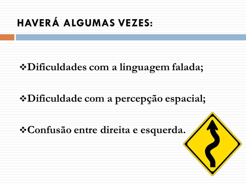 Dificuldades com a linguagem falada; Dificuldade com a percepção espacial; Confusão entre direita e esquerda.