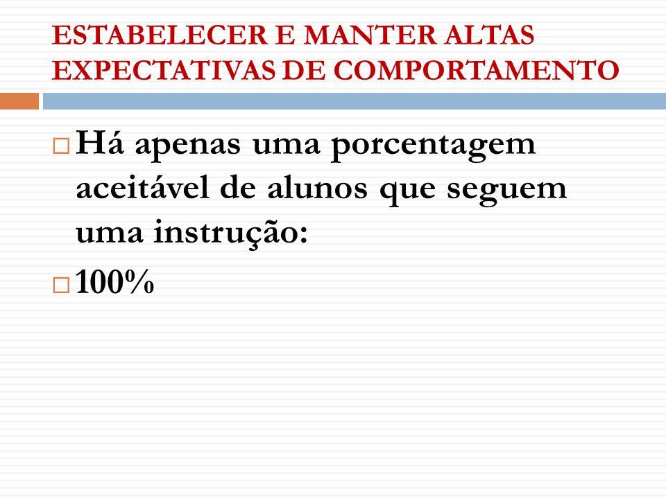 ESTABELECER E MANTER ALTAS EXPECTATIVAS DE COMPORTAMENTO Há apenas uma porcentagem aceitável de alunos que seguem uma instrução: 100%