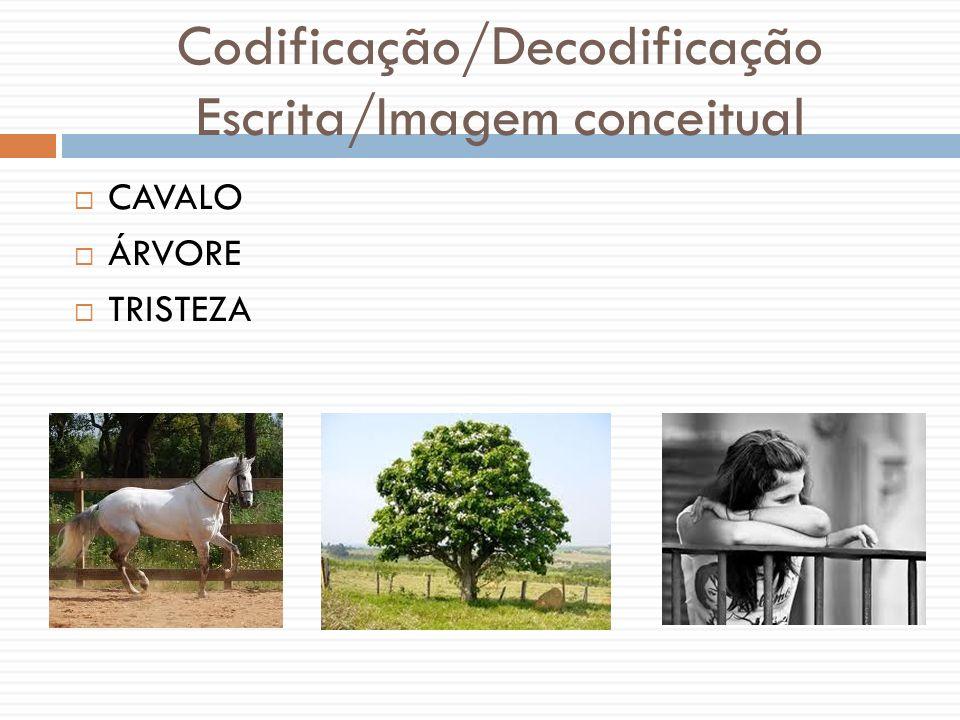 Codificação/Decodificação Escrita/Imagem conceitual CAVALO ÁRVORE TRISTEZA