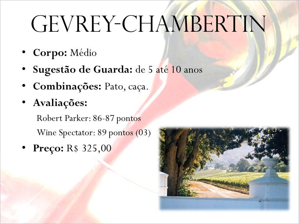 Gevrey-Chambertin Vinho: Gevrey-Chambertin Safra: 2000 Produtor: Louis Jadot Uva: Pinot Noir 100% Vinificação: Tradicional, com controle de temperatur