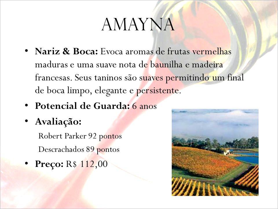amayna Produtor: Viña Garcés Silva Safra: 2005 Alcool: 14,5% Uva: Pinot Noir 100% Vinhedos: Valle de San Antonio Comentários do Produtor: A influência