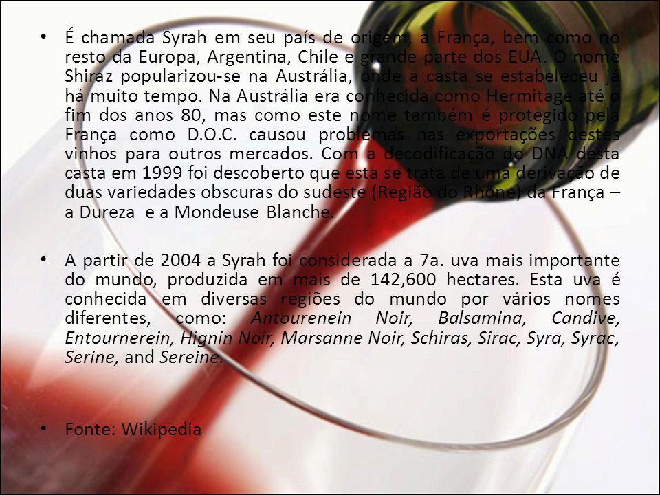 PROLEGÔMENOS O Syrah é uma variedade de uva com a casca escura muito usada para a produção de vinhos.