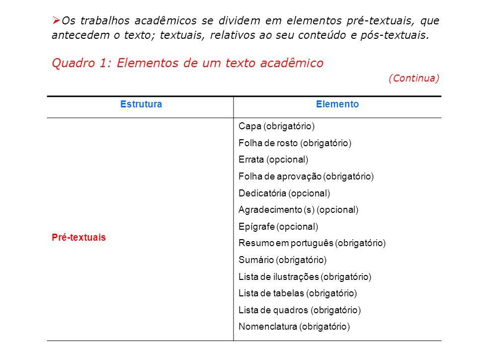 EstruturaElemento Textuais Introdução (obrigatório) Detalhamento do projeto (obrigatório) Viabilidade técnica (obrigatório) Viabilidade econômica (obrigatório) Resultados (quando existirem) Conclusão (obrigatório) Pós-Textuais Referências (obrigatório) Glossário (opcional) Apêndice (s) (opcional) Anexo (s) (opcional) Quadro 1: Elementos de um texto acadêmico (Conclusão) O início de cada uma das partes que compõem os elementos do texto deve coincidir com o início de uma página, não podendo ser iniciada uma lista de tabelas, por exemplo, na mesma página onde termina uma lista de quadros.