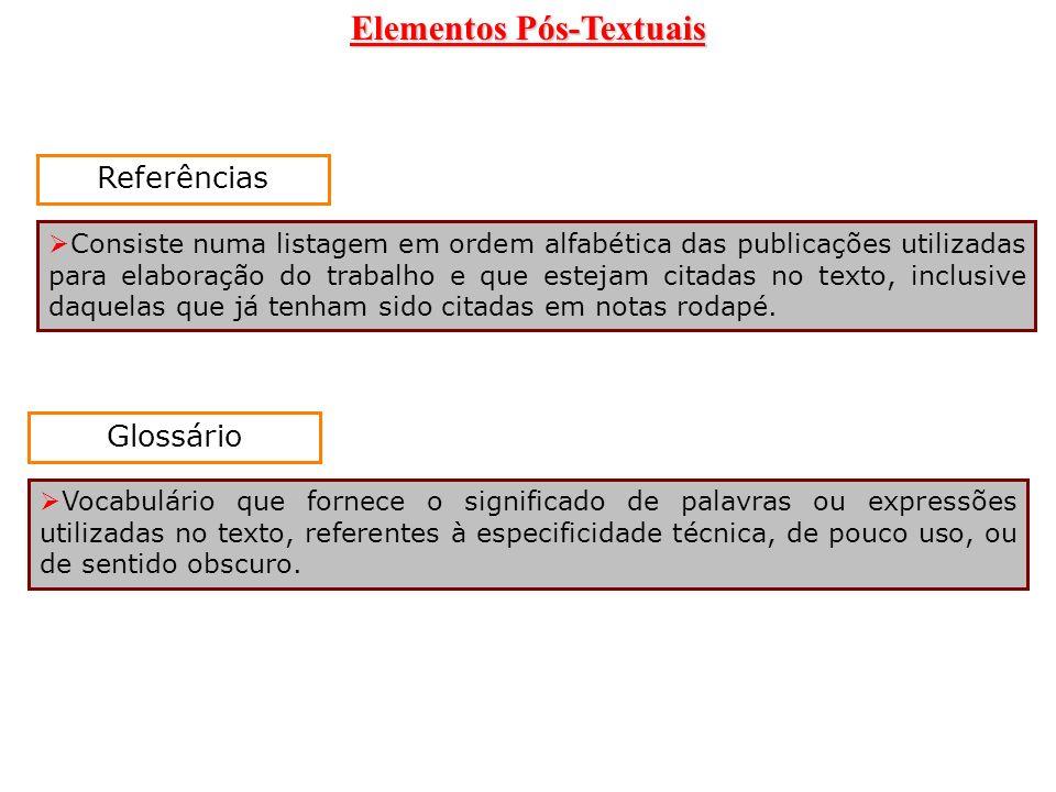 Elementos Pós-Textuais Referências Consiste numa listagem em ordem alfabética das publicações utilizadas para elaboração do trabalho e que estejam cit