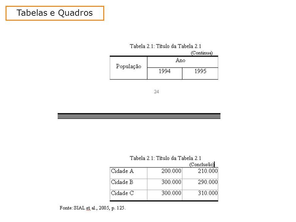 Tabelas e Quadros