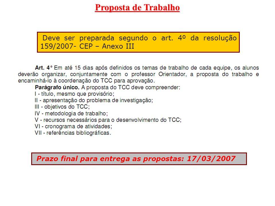 Proposta de Trabalho Deve ser preparada segundo o art. 4º da resolução 159/2007- CEP – Anexo III Prazo final para entrega as propostas: 17/03/2007