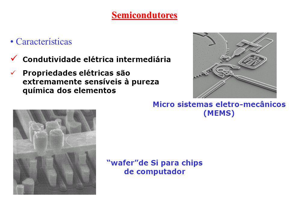 Semicondutores Características Condutividade elétrica intermediária Propriedades elétricas são extremamente sensíveis à pureza química dos elementos w