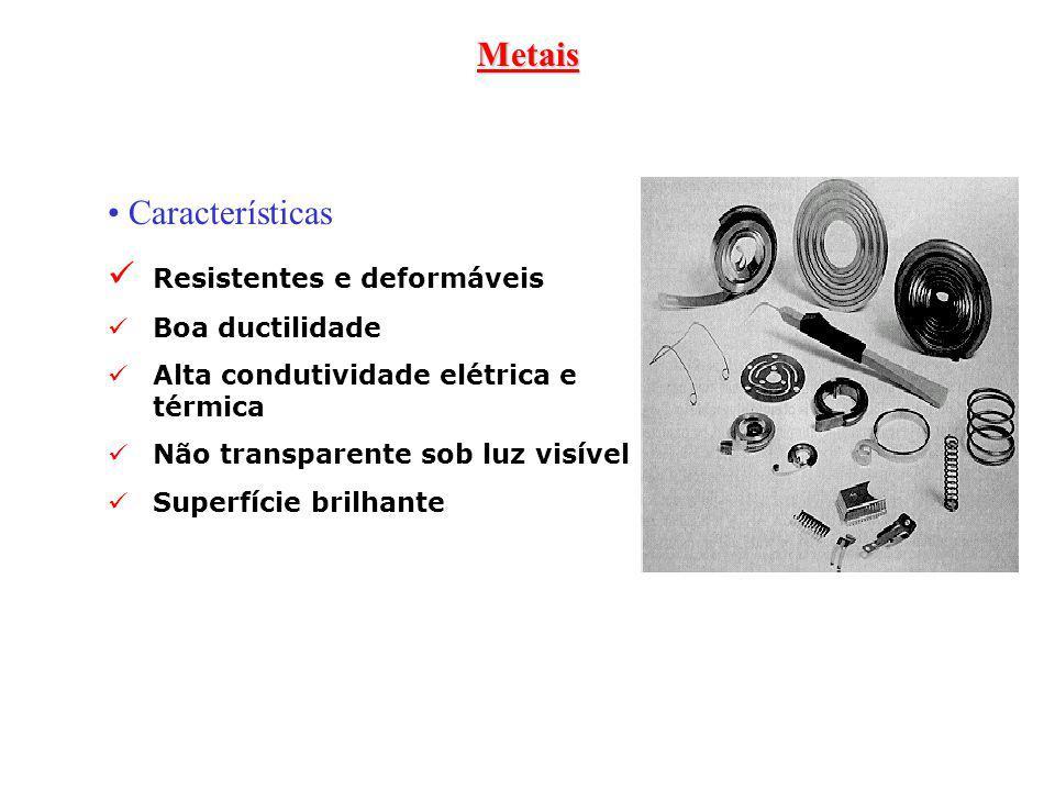 Metais Características Resistentes e deformáveis Boa ductilidade Alta condutividade elétrica e térmica Não transparente sob luz visível Superfície bri