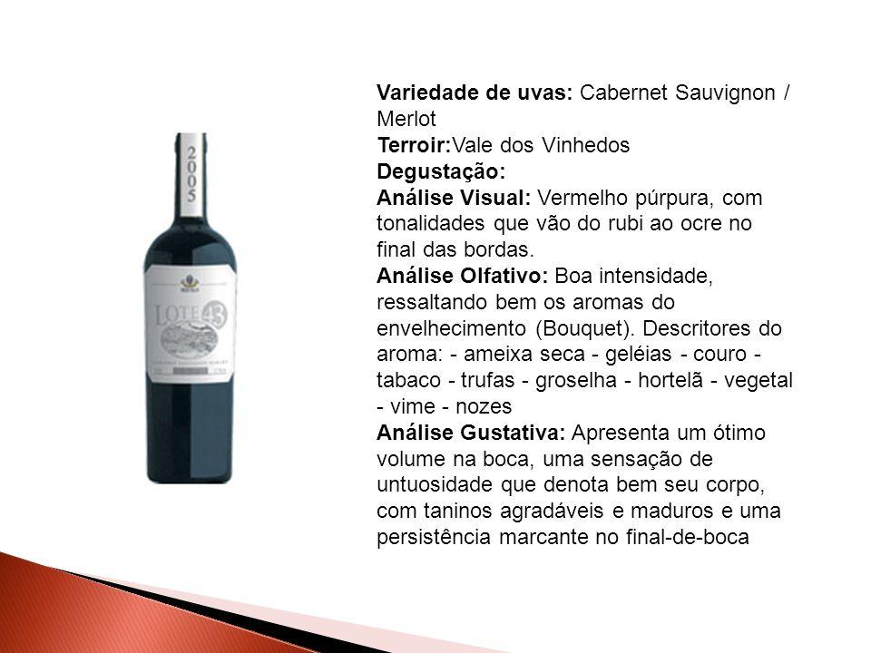 Variedade de uvas: Cabernet Sauvignon / Merlot Terroir:Vale dos Vinhedos Degustação: Análise Visual: Vermelho púrpura, com tonalidades que vão do rubi