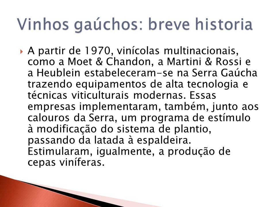 A partir de 1970, vinícolas multinacionais, como a Moet & Chandon, a Martini & Rossi e a Heublein estabeleceram-se na Serra Gaúcha trazendo equipament