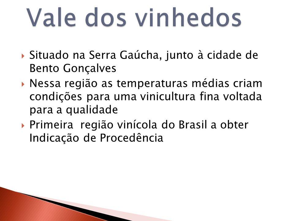 Situado na Serra Gaúcha, junto à cidade de Bento Gonçalves Nessa região as temperaturas médias criam condições para uma vinicultura fina voltada para