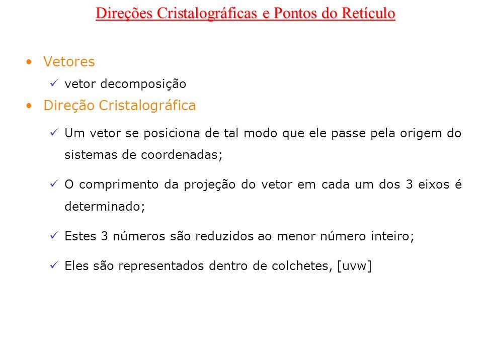 Vetores vetor decomposição Direção Cristalográfica Um vetor se posiciona de tal modo que ele passe pela origem do sistemas de coordenadas; O comprimen