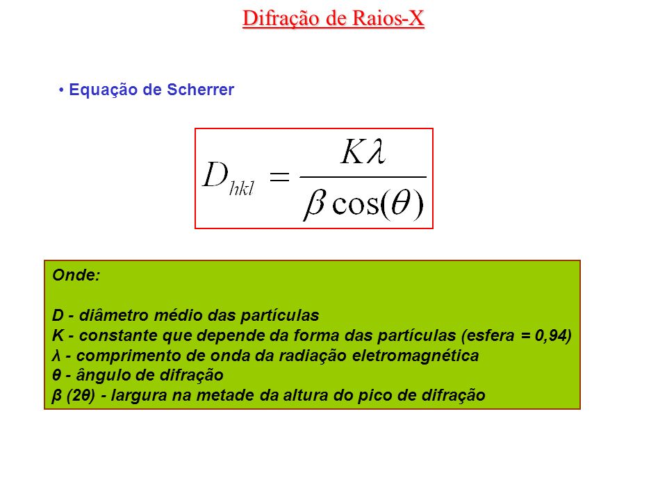 Difração de Raios-X Equação de Scherrer Onde: D - diâmetro médio das partículas K - constante que depende da forma das partículas (esfera = 0,94) λ -