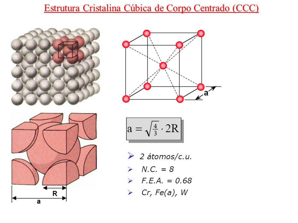 2 átomos/c.u. N.C. = 8 F.E.A. = 0.68 Cr, Fe(a), W Estrutura Cristalina Cúbica de Corpo Centrado (CCC)