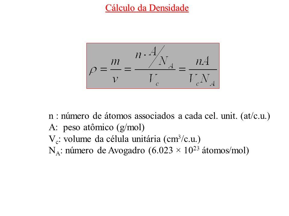 n : número de átomos associados a cada cel. unit. (at/c.u.) A: peso atômico (g/mol) V c : volume da célula unitária (cm 3 /c.u.) N A : número de Avoga