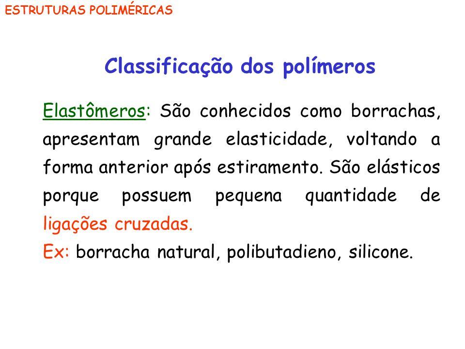 ESTRUTURAS POLIMÉRICAS Classificação dos polímeros Elastômeros: São conhecidos como borrachas, apresentam grande elasticidade, voltando a forma anteri