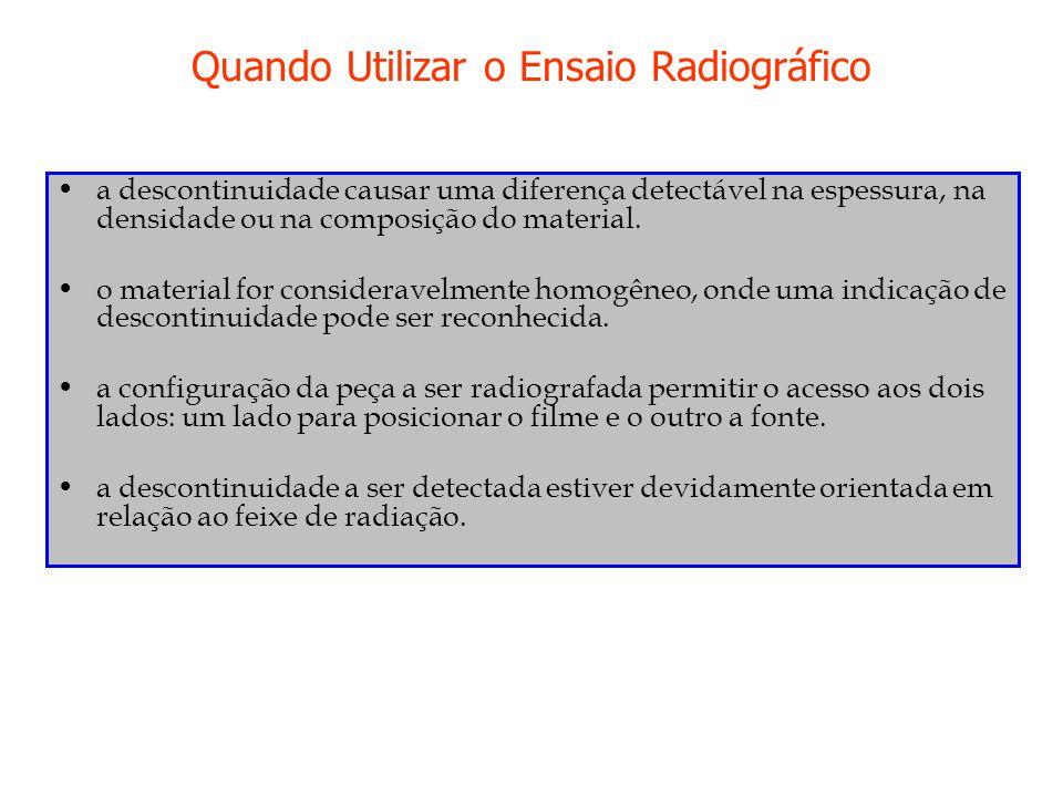 Quando Utilizar o Ensaio Radiográfico a descontinuidade causar uma diferença detectável na espessura, na densidade ou na composição do material. o mat