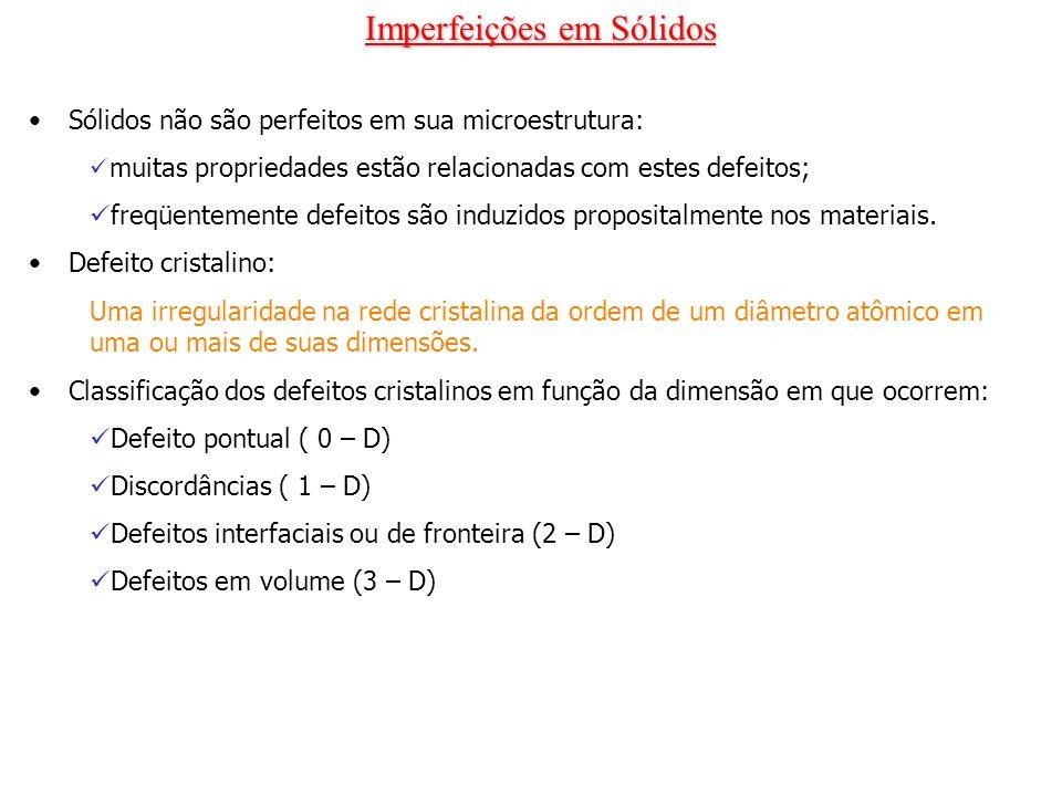 Imperfeições em Sólidos Sólidos não são perfeitos em sua microestrutura: muitas propriedades estão relacionadas com estes defeitos; freqüentemente def