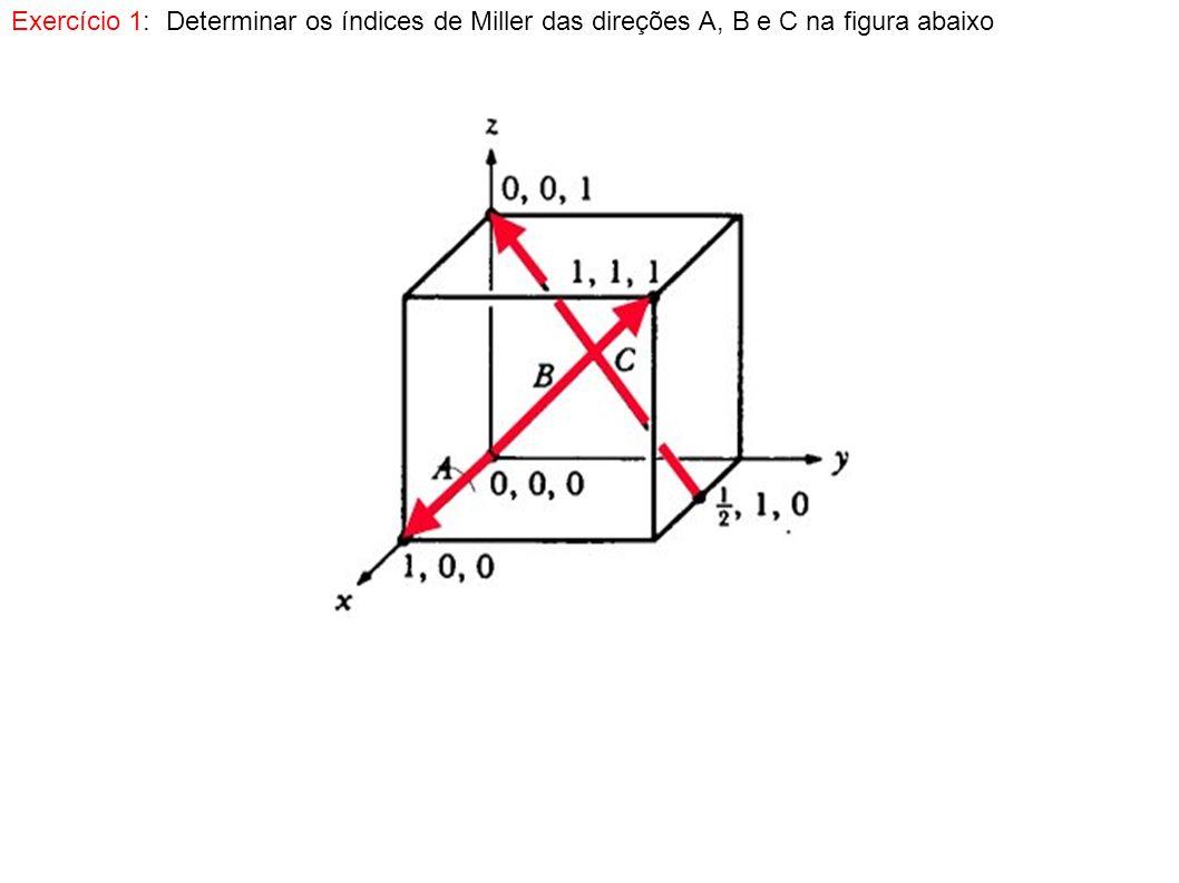 Exercício 1: Determinar os índices de Miller das direções A, B e C na figura abaixo