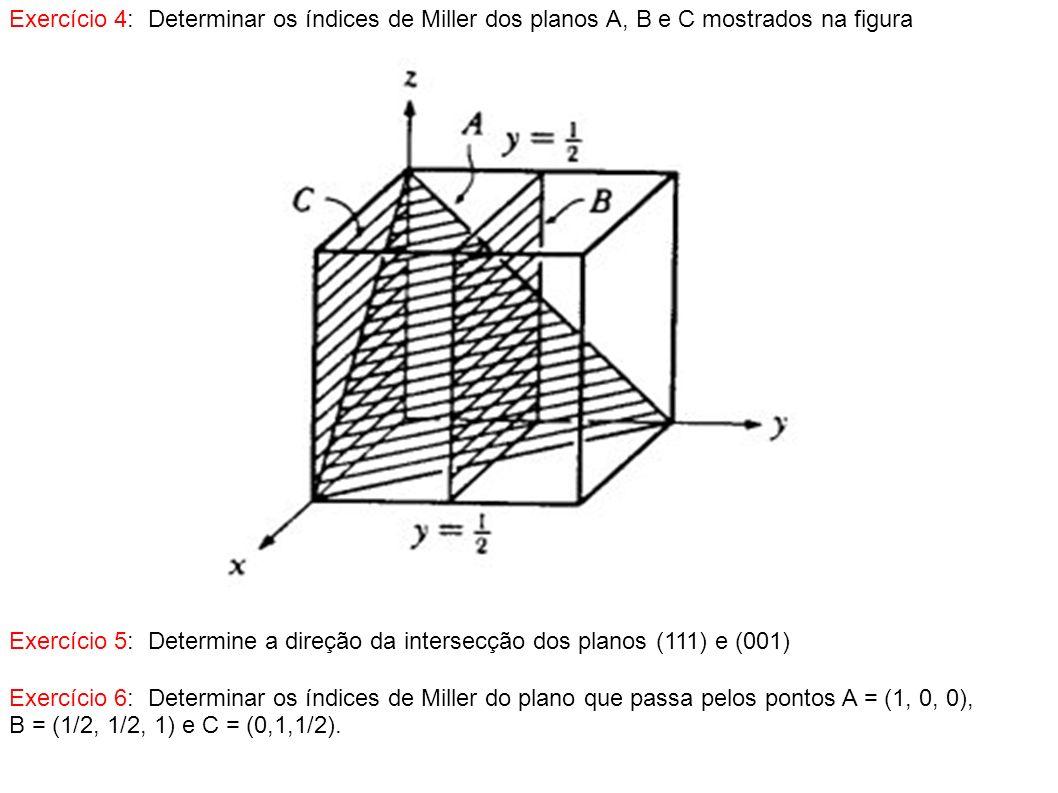 Exercício 4: Determinar os índices de Miller dos planos A, B e C mostrados na figura Exercício 5: Determine a direção da intersecção dos planos (111)