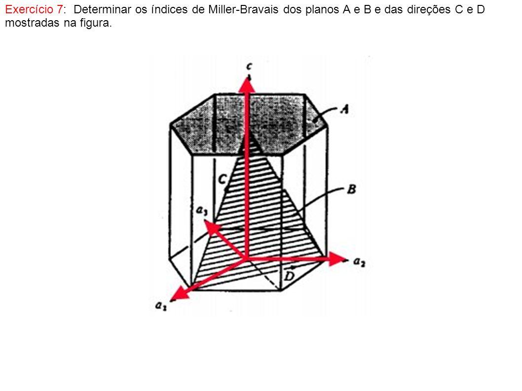 Exercício 7: Determinar os índices de Miller-Bravais dos planos A e B e das direções C e D mostradas na figura.