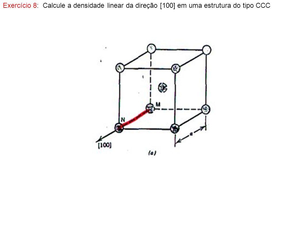 Exercício 9: Calcule a densidade planar para os planos (010) e (020) em uma célula do tipo cúbica simples, com um parâmetro de rede de 0,334 nm.