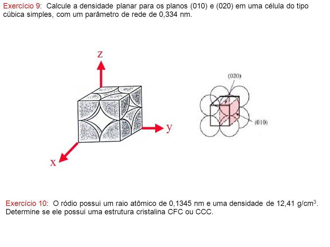 Exercício 9: Calcule a densidade planar para os planos (010) e (020) em uma célula do tipo cúbica simples, com um parâmetro de rede de 0,334 nm. Exerc