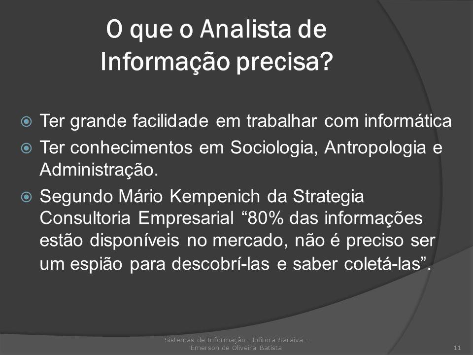 O que o Analista de Informação precisa? Ter grande facilidade em trabalhar com informática Ter conhecimentos em Sociologia, Antropologia e Administraç